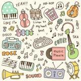 Комплект милого Doodle аппаратуры & аудиоплейера музыки бесплатная иллюстрация