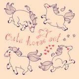 Комплект милой лошади в стиле шаржа Стоковые Изображения RF