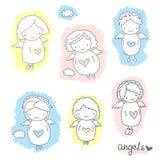 Комплект милых ангелов эскиза Стоковое фото RF