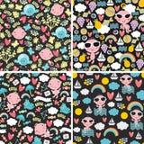 Комплект милых безшовных картин с счастливыми младенцами Стоковое Изображение RF