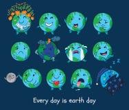 Комплект милых глобусов шаржа с различными эмоциями Стоковая Фотография RF