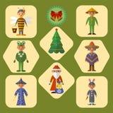 Комплект милых детей в костюмах masquerade, плоский дизайн вектора иллюстрация штока