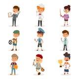 Комплект милых детей профессий шаржа колеривщик Стоковая Фотография