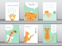Комплект милых животных плаката, шаблона, карточек, котов, иллюстраций вектора иллюстрация штока