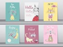 Комплект милых животных плаката, шаблона, карточек, котов, иллюстраций вектора Стоковая Фотография