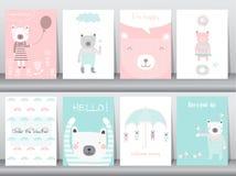 Комплект милых животных плаката, шаблона, карточек, медведя, иллюстраций вектора Стоковые Изображения