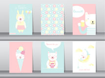 Комплект милых животных плаката, шаблона, карточек, медведя, иллюстраций вектора Стоковые Фото