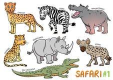 Комплект милых животных шаржа и в зонах сафари иллюстрация вектора
