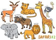Комплект милых животных шаржа и в зонах сафари иллюстрация штока