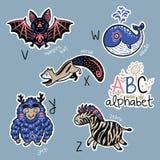 Комплект милых значков заплаты с алфавитом v животных - z иллюстрация штока
