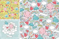 Комплект милых картин с ангелами в небе Стоковое Изображение