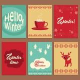 Комплект милых карточек вектора о зиме Стоковая Фотография RF