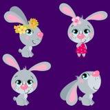Комплект милых кроликов пасхи шаржей Стоковое фото RF