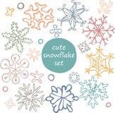 Комплект милых нарисованных вручную снежинок Стоковые Фотографии RF