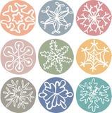 Комплект милых нарисованных вручную снежинок Стоковые Изображения RF