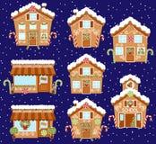Комплект милых домов пряника праздника вектора, магазинов и других зданий иллюстрация штока