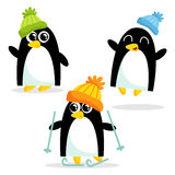 Комплект 3 милых пингвинов, изолированный на белизне Стоковые Изображения RF