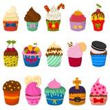 Комплект милых пирожных и булочек вектора на белизне Стоковые Изображения