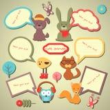 Комплект милых пузырей речи с животными бесплатная иллюстрация