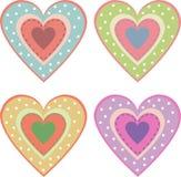 Комплект милых сердец Стоковые Фото