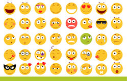 Комплект милых смайликов Значки Emoji и улыбки На белой предпосылке также вектор иллюстрации притяжки corel Стоковые Фото