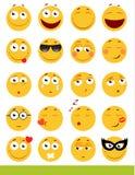 Комплект милых смайликов Значки Emoji и улыбки На белой предпосылке также вектор иллюстрации притяжки corel Стоковое фото RF
