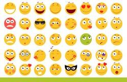 Комплект милых смайликов Значки Emoji и улыбки На белой предпосылке также вектор иллюстрации притяжки corel Стоковые Изображения RF