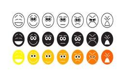 Комплект милых смайликов smiley, дизайн emoji плоский, иллюстрация вектора Стоковые Фото