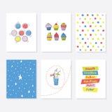 Комплект 6 милых творческих шаблонов карточек с дизайном темы партии Стоковая Фотография