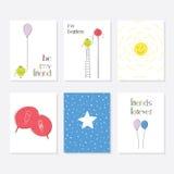 Комплект 6 милых творческих шаблонов карточек с дизайном темы друга рука нарисованная карточкой Стоковая Фотография