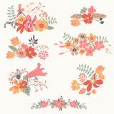 Комплект 7 милых флористических букетов Стоковые Изображения
