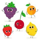Комплект 5 милых характеров плодоовощ шаржа изолированных на белизне Стоковая Фотография