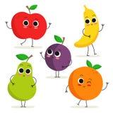 Комплект 5 милых характеров плодоовощ шаржа на белизне Стоковые Изображения RF