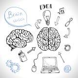 Комплект мозга значков Doodles Стоковая Фотография