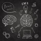 Комплект мозга значков Doodles Стоковые Фотографии RF