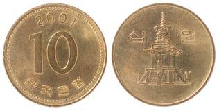 Комплект монетки Кореи 10 Стоковые Изображения RF
