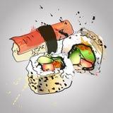 Комплект морепродуктов, суши и maki с цветом брызгают Иллюстрация штока