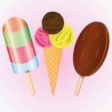 Комплект мороженого, мороженое собрания на свете - розовой предпосылке Стоковое Изображение