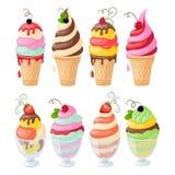 Комплект мороженого на белизне Стоковые Изображения