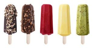 Комплект мороженого на белой предпосылке Стоковые Изображения RF