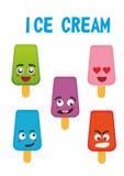 Комплект мороженого эмоции стоковое фото rf