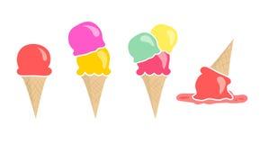 Комплект 4 мороженых вектора изолированных на белизне Стоковое Изображение RF