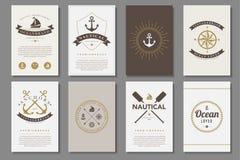 Комплект морских брошюр в винтажном стиле Стоковое Изображение RF