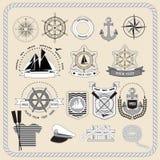 Комплект морских значков также вектор иллюстрации притяжки corel Стоковые Изображения