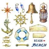Комплект морских объектов иллюстрация штока