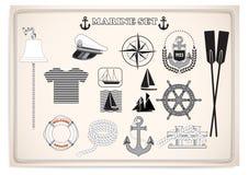 Комплект морского пехотинца Морское оборудование Морское оборудование также вектор иллюстрации притяжки corel Стоковое Изображение