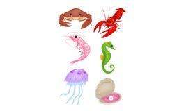 Комплект морской жизни иллюстрация штока