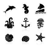 Комплект морской флоры и фауны 9 значков Стоковые Изображения RF