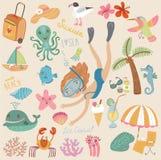 Комплект моря и пляжа изображений иллюстрация штока