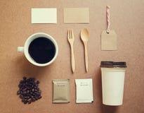 Комплект модель-макета идентичности кофе Стоковое Фото